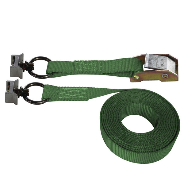 Green 1 Inch Cam Buckle Strap with Silver L-Track Fittings