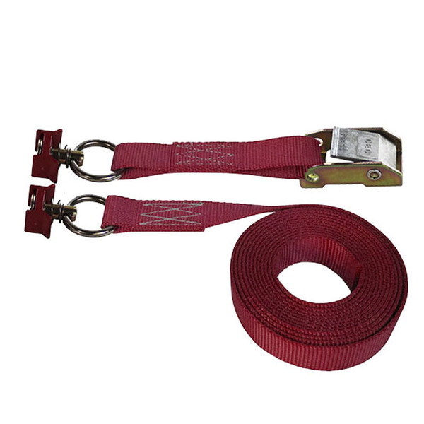 Maroon 1 Inch Cam Buckle Strap with Red L-Track Fittings