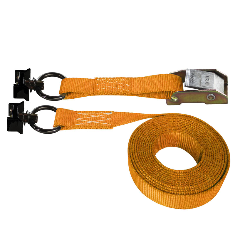 Orange 1 Inch Cam Buckle Strap with Black L-Track Fittings