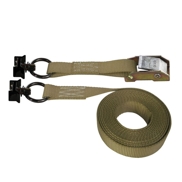 Tan 1 Inch Cam Buckle Strap with Black L-Track Fittings