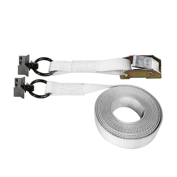 White 1 Inch Cam Buckle Strap with Silver L-Track Fittings