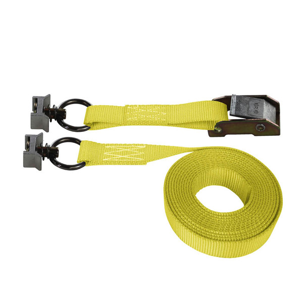 Yellow 1 Inch Cam Buckle Strap with Black L-Track Fittings