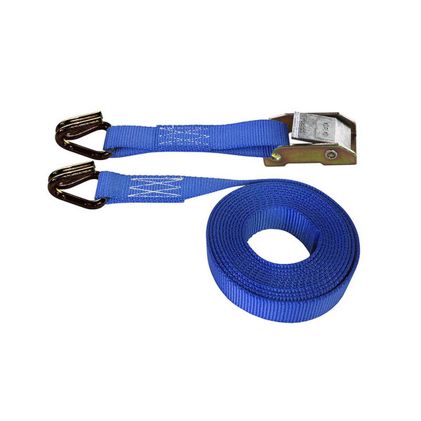 Blue 1 Inch Cam Buckle Strap with Wire Hooks