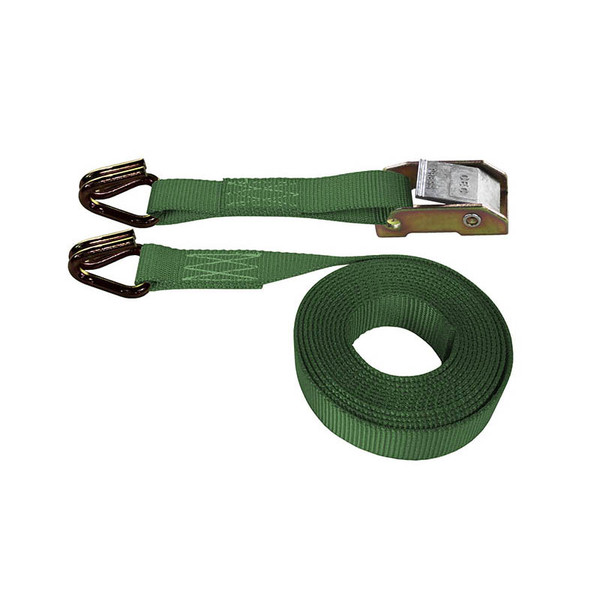 Green 1 Inch Cam Buckle Strap with Wire Hooks