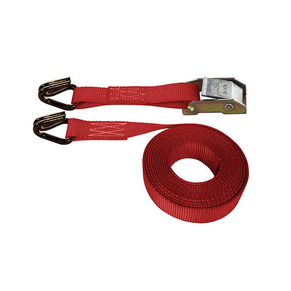 Red 1 Inch Cam Buckle Strap with Wire Hooks