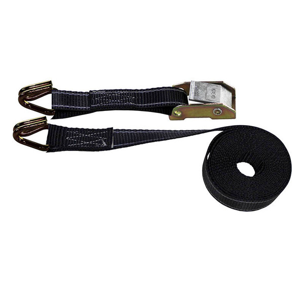 Reflective Black 1 Inch Cam Buckle Strap with Wire Hooks