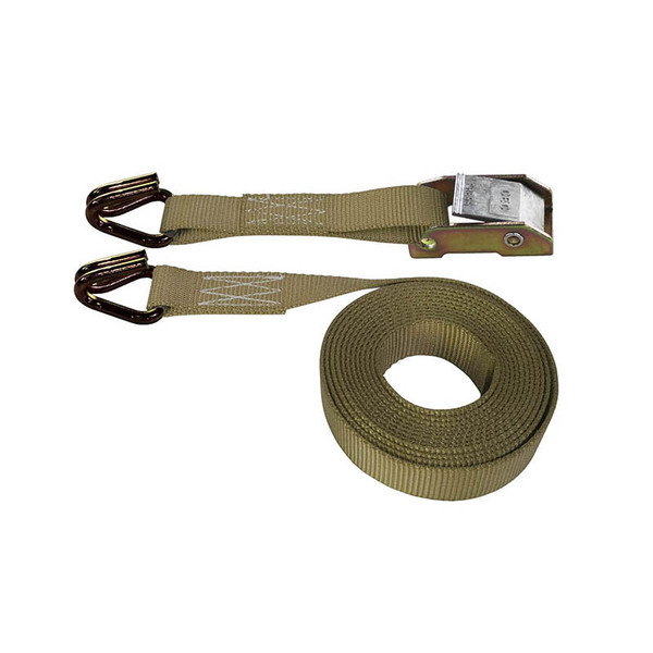 Tan 1 Inch Cam Buckle Strap with Wire Hooks