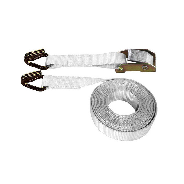 White 1 Inch Cam Buckle Strap with Wire Hooks