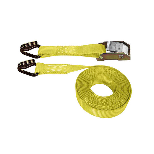 Yellow 1 Inch Cam Buckle Strap with Wire Hooks