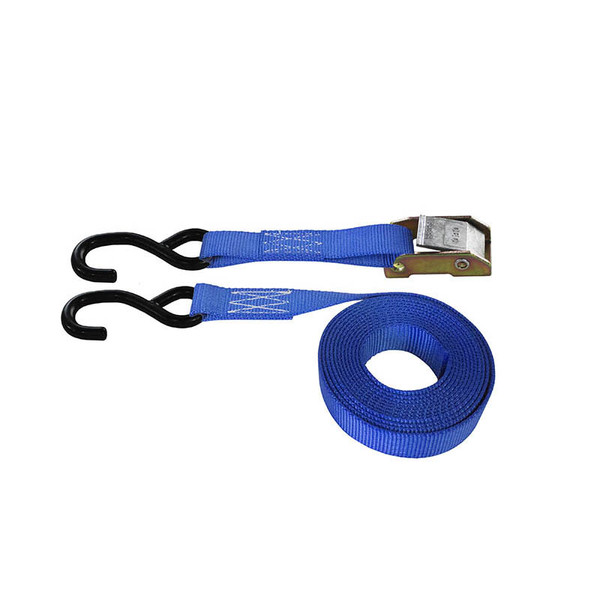 Blue 1 Inch Cam Buckle Strap with Coated S-Hooks
