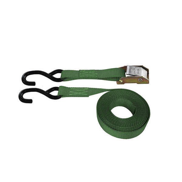 Green 1 Inch Cam Buckle Strap with Coated S-Hooks
