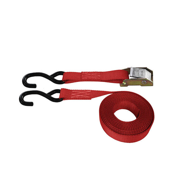 Red 1 Inch Cam Buckle Strap with Coated S-Hooks