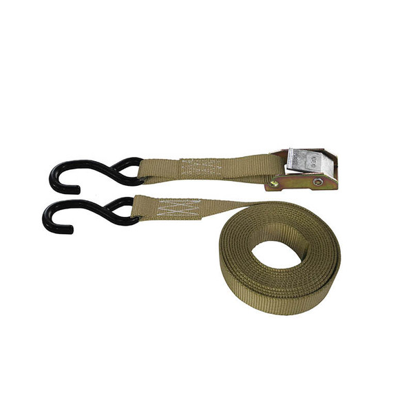 Tan 1 Inch Cam Buckle Strap with Coated S-Hooks