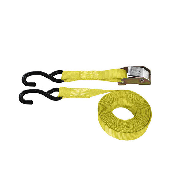Yellow 1 Inch Cam Buckle Strap with Coated S-Hooks