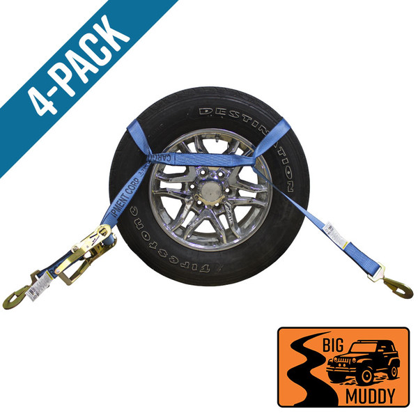 Four Pack of Blue Auto Hauling BIG MUDDY Strap