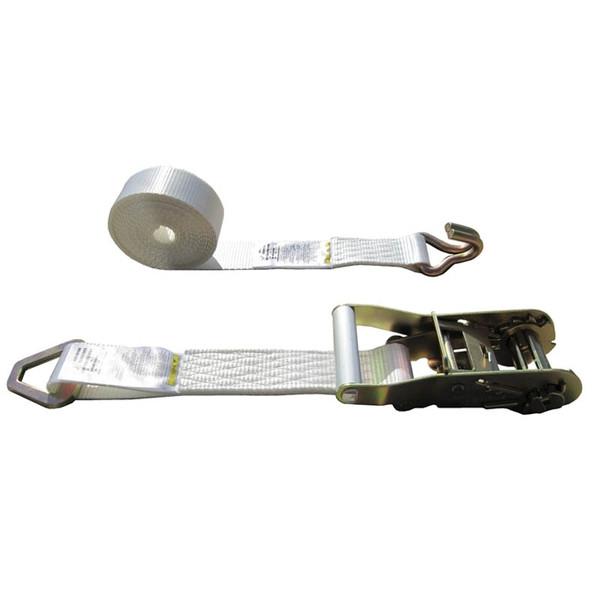 White 2 Inch Tent Strap with Delta Ring and Wire Hook