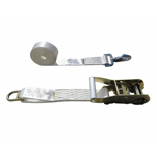 White 2 Inch Tent Strap with Double Bar D Ring and Forged Snap Hook