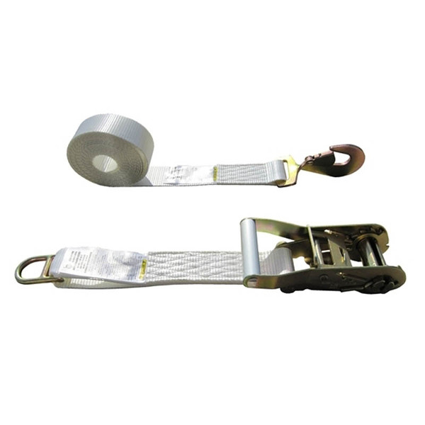 White 2 Inch Tent Strap with Double Bar D Ring and Snap Hook