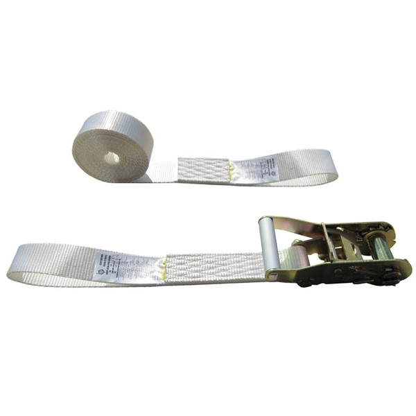 White 2 Inch Tent Strap with Sewn Loops