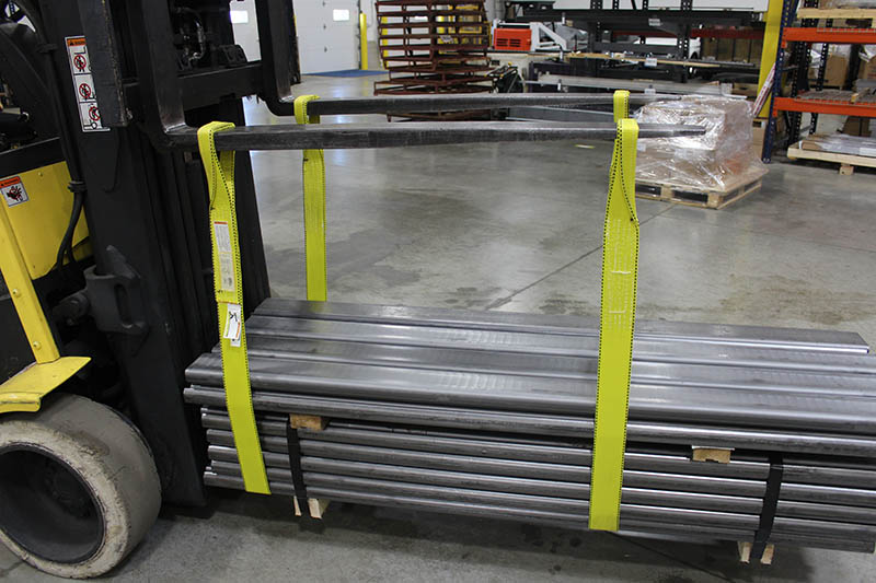 twisted eye lifting sling used on a forklift to move steel