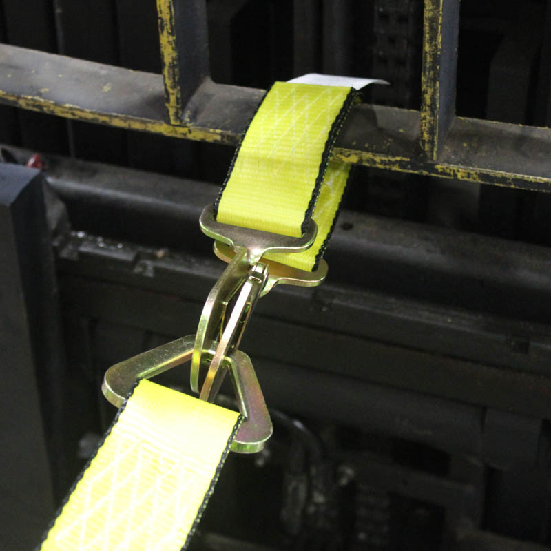 pallet puller strap attached to forklift